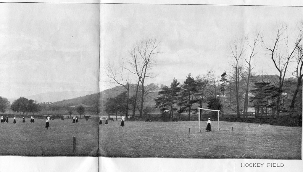 The hockey field with players, 1903 prospectus photograph